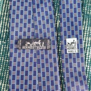 "Hermes 60"" 100% Silk Tie- Geometric Print Blue"